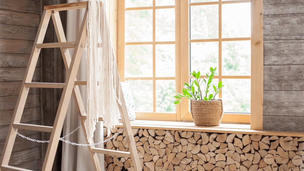 legno, scala, finestra, idee per decorare casa autunno